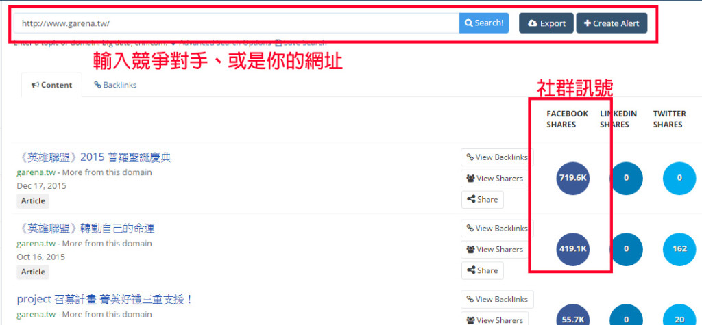 Buzzsumo - 網站分析