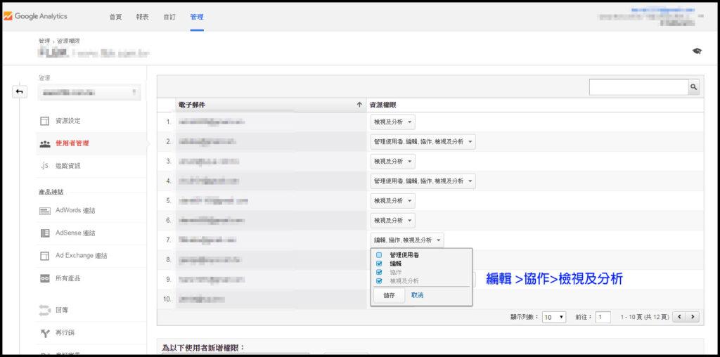 Google Analytics使用者管理